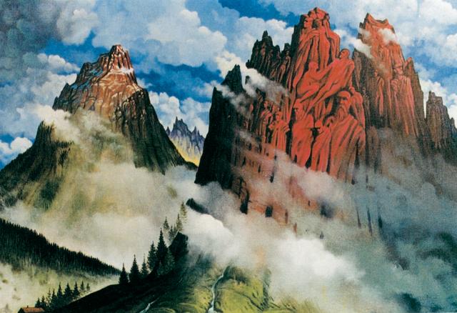 Dolomiti (antiche presenze) - 1995 Acrilico su tavola - cm 100x80