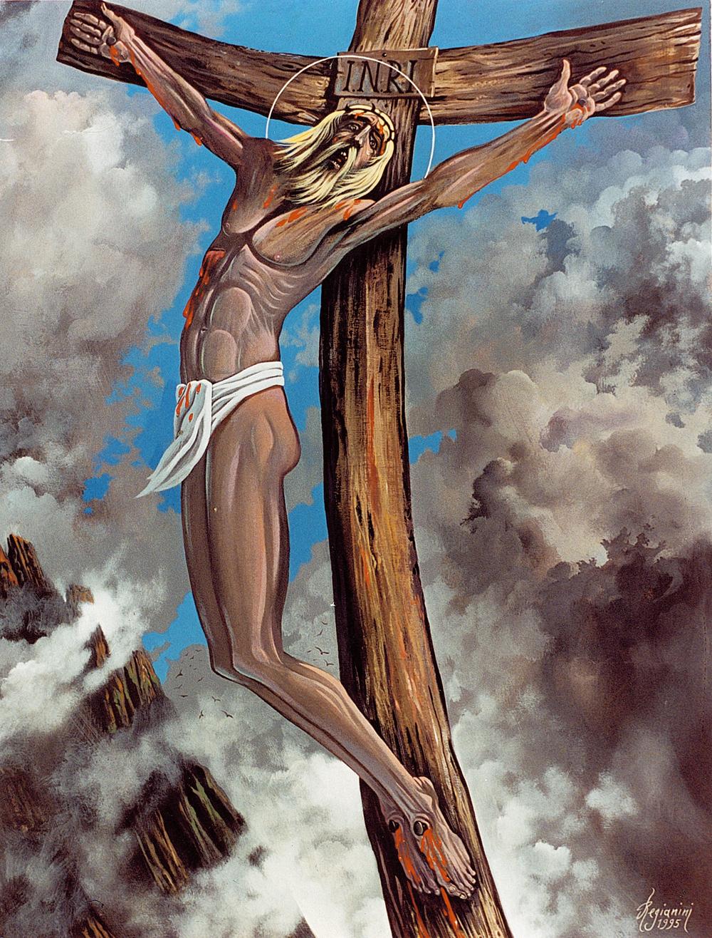L'ultimo respiro (il Cristo dei monti) - 1995 Acrilico su tavola - cm 80x100