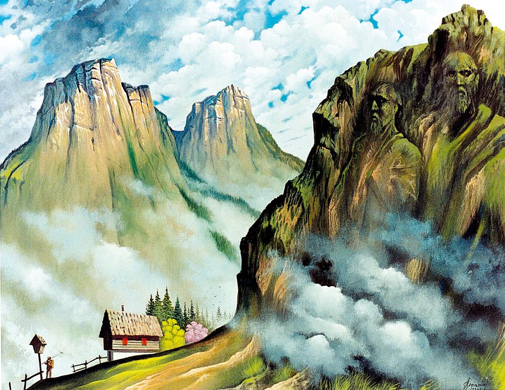REALTÀ MAGICA- La montagna scolpita - 1995  Acrilico su tavola - cm 100x80
