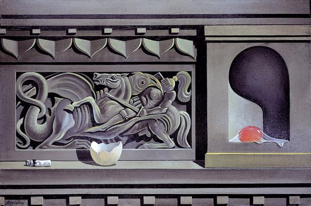 Natura morta con S. Giorgio - 1981     Olio su tela - cm 60x40