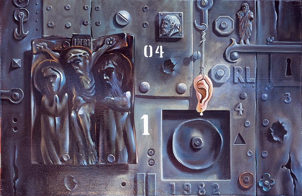 Natura morta con bassorilievo - 1981 Olio su tela - cm 60x40
