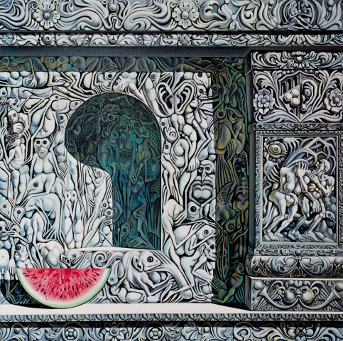 La fetta d'anguria - 1979 Olio su tela - cm 100x100