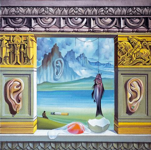 Finestrella decorata con natura morta -1991 Olio su tela - cm 50x50