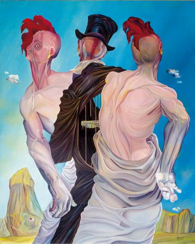 La danza degli uomini gallina - 1960 Olio su tela - cm 80x100