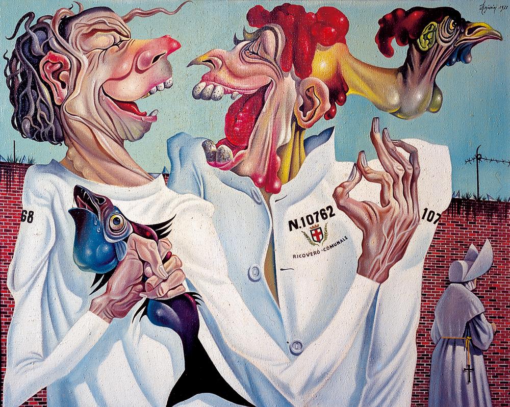 RICOVERO COMUNALE - Il racconto della barzelletta - 1977 Olio su tela - cm 100x80