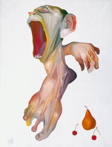 Urlo con frutta - 1962 Olio su tela - cm 50x60