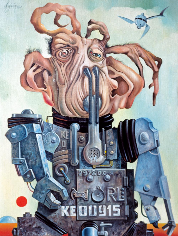 L'uomo del 3000 - 1978 Olio su tela - cm 60x80