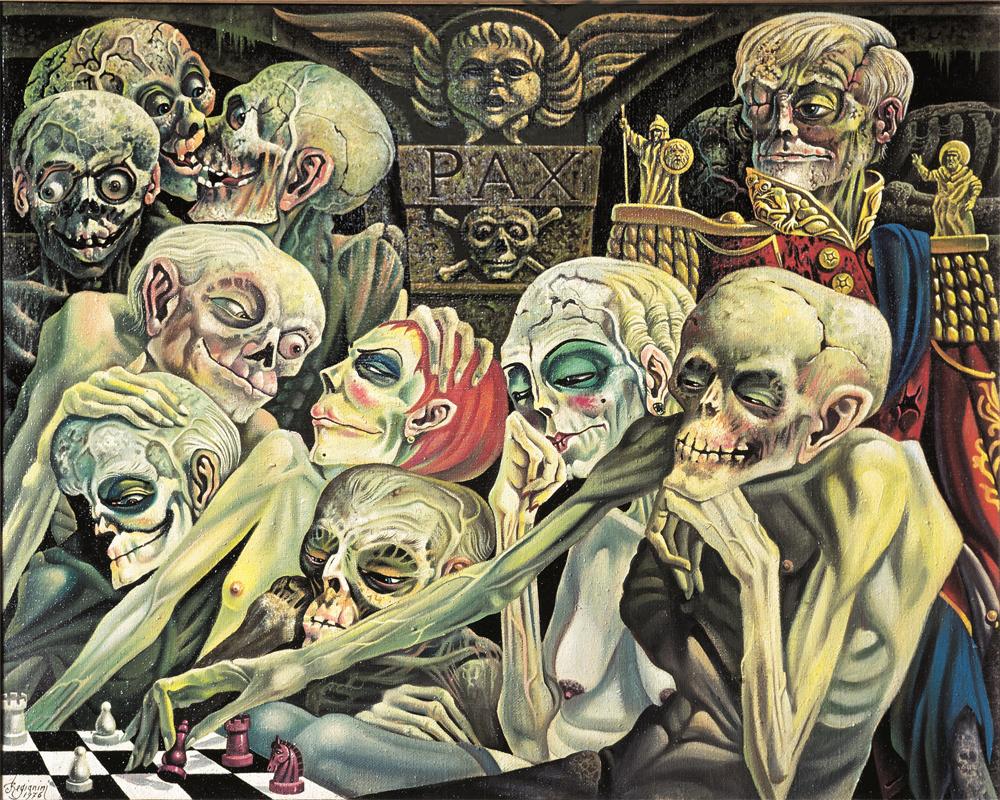 NELLA CRIPTA DI FAMIGLIA - A mezzanotte... ogni notte - 1976 Olio su tela - cm 100x80